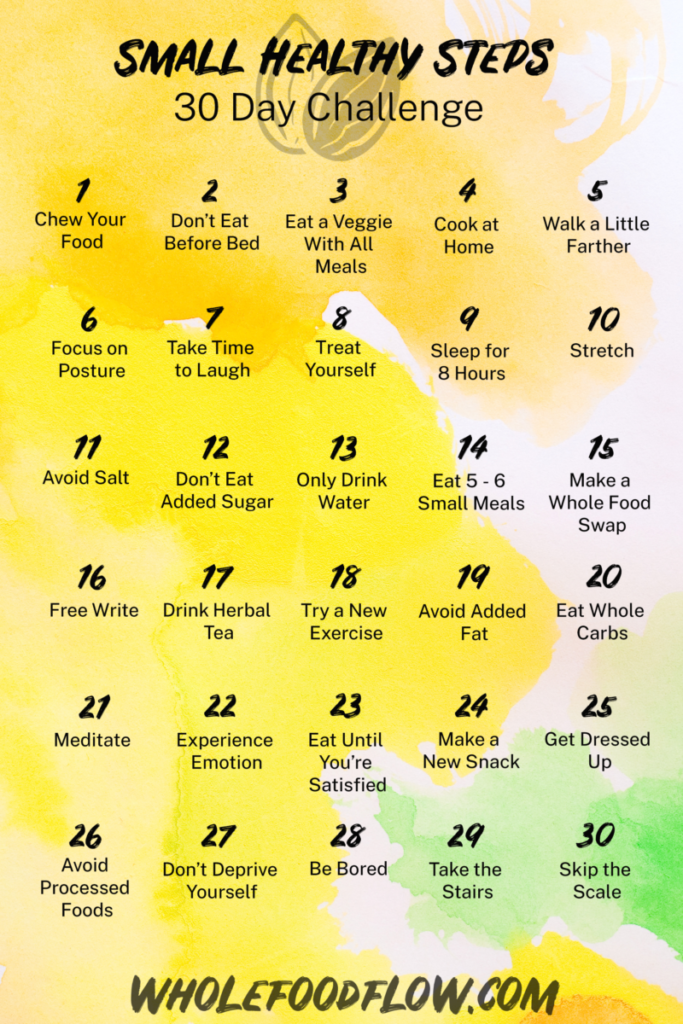 wholefoodflow 30 day small healthy steps challenge